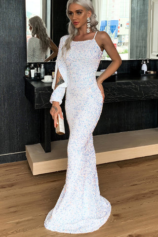 Single Slit Sequin Maxi Gown