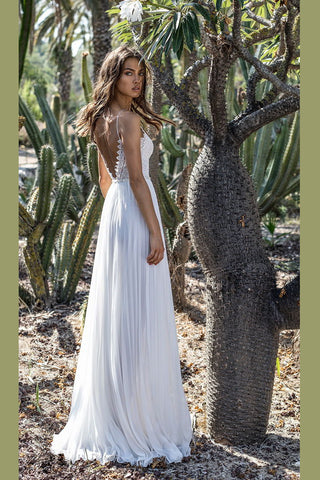 Spaghetti Strap Deep V-neck Maxi Dress