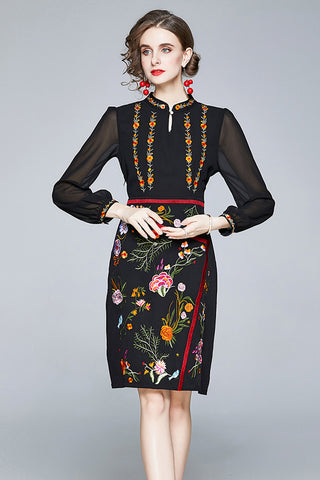 Long Sleeve Embroidered Midi Dress