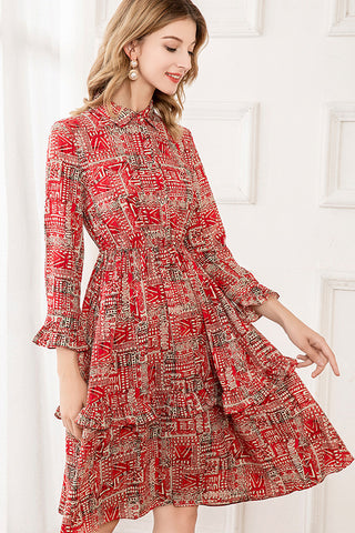 Long Sleeve Button Front Ruffle Hem Fit&Flare Dress