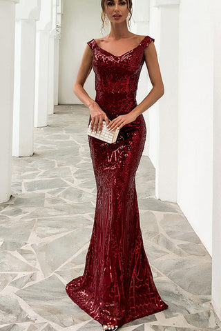 Off shoulder Double V neck Sequin Maxi Dress