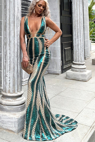 Sleeveless Double V neck Sequin Maxi Dress