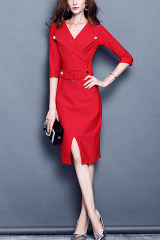 Lapel Neck Waist Belted Midi Dress