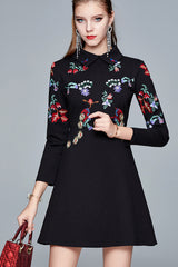 Long Sleeve Embroidered A line Dress
