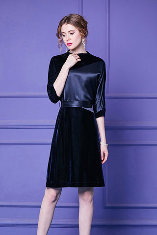 Half Sleeve Contrast Velvet A line Dress