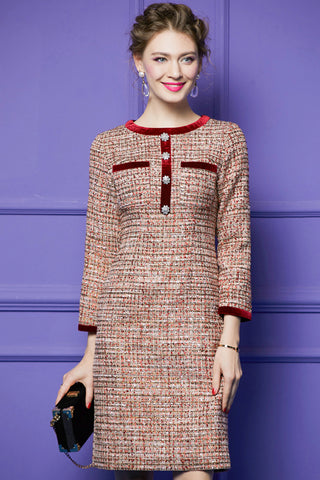 Long Sleeve Tweed Midi Dress