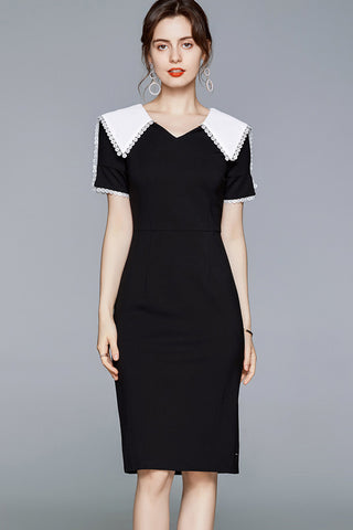 Short Sleeve Doll Collar Midi Dress