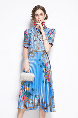 Short Sleeve Neck Bowknot Pleated Dress