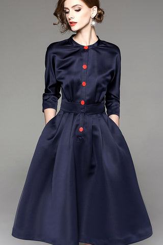Three Quarter Sleeve A line Dress