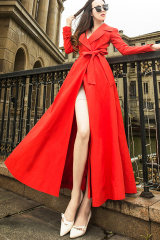 Long Sleeve Buckleless Waist Belted Long Coat
