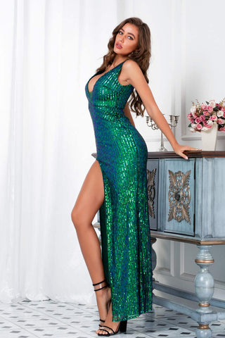 Double V neck Sequin High Slit Formal Dress