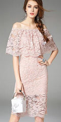 Vintage Off-the-shoulder Layered Lace Dress