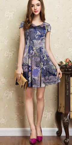 Cap Sleeve Pleated Silk Printed Dress