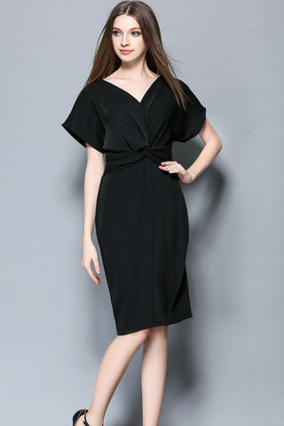 Deep V-neck Batwing Sleeve Midi Dress