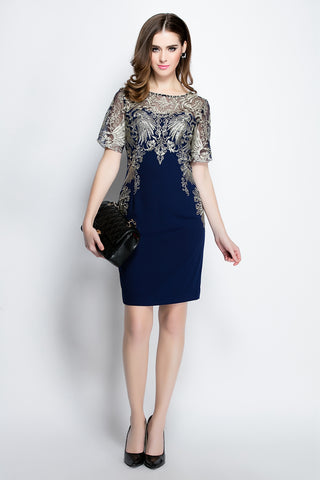 SHORT SLEEVE LACE EMBROIDERY SHEATH DRESS