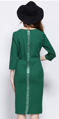 Front Slit Green Dress