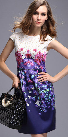 Contrast Printed Shift Dress