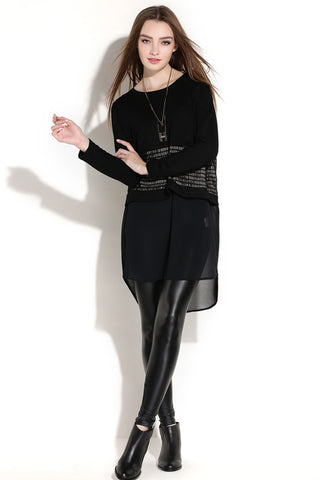 Long Sleeve Sweater Contrast Chiffon Bottom Shift Dress