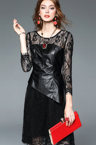 Long Sleeve Leather Contrast Lace Dress