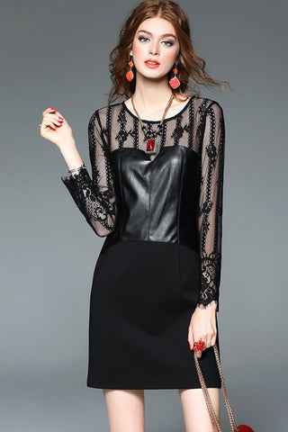 LONG LACE SLEEVE CONTRAST LEATHER AND KNITTED DRESS