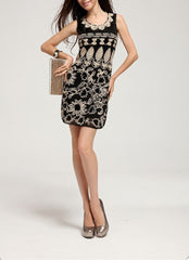 Sleeveless Emb. Garden Sequin Dress