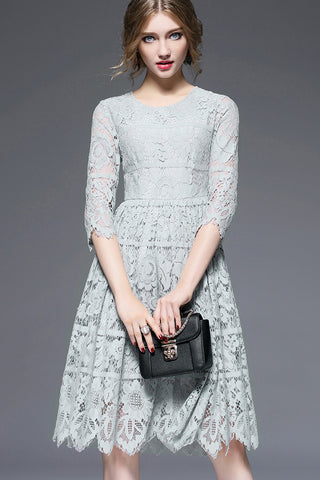 3/4 Sleeve Lace Flare Dress