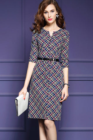 3/4 Sleeve V-Neck Sheath Dress With Belt