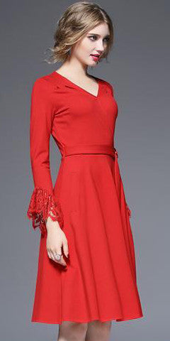 Lace inserted Wrap Dress