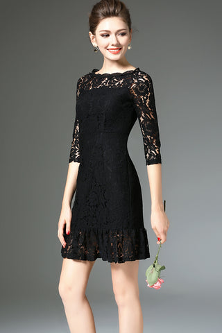 3/4 Sleeve Lace Shift Dress With Ruffle Hem