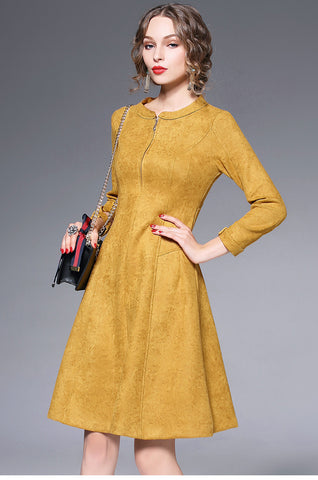 Long Sleeve Front Zipper A-line Dress
