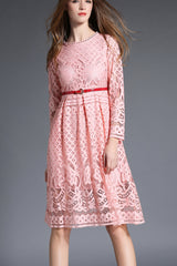 Long sleeve Pleated Lace Dress With Belt