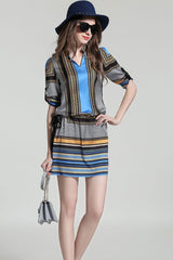 3/4 Sleeve V-neck Printed Shift Dress With Tied Waist
