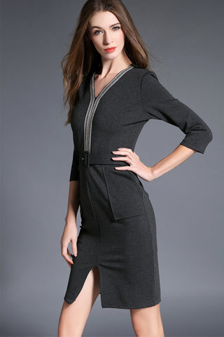 3/4 SLEEVE V-NECK SHEATH DRESS WITH FRONT SLIT