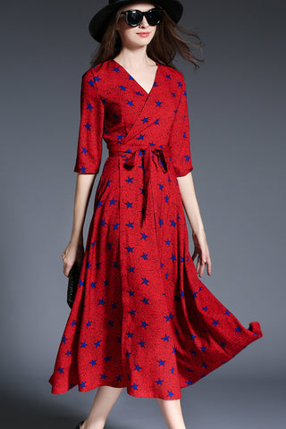 1/2 Sleeve V-neck Waist Belted Flare Printed Dress