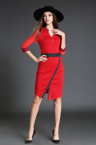1/2 Sleeve V-neck Surplice Sheath Dress