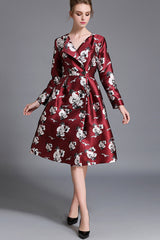 Long Sleeve V-neck Front Button Printed Dress