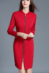 Zipper Front Sheath Dress