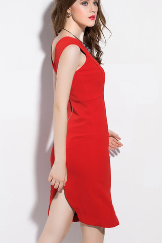 Sleeveless Double V-neck Midi Dress