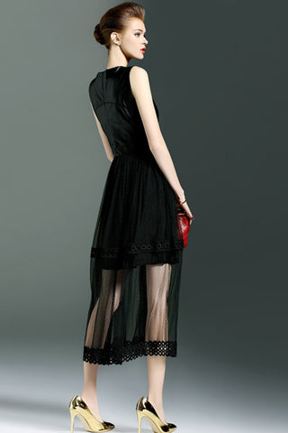Sleeveless Leather Contrast Tulle Dress