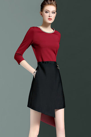 3/4 Sleeve Asymmetrical Contrast A-line Dress