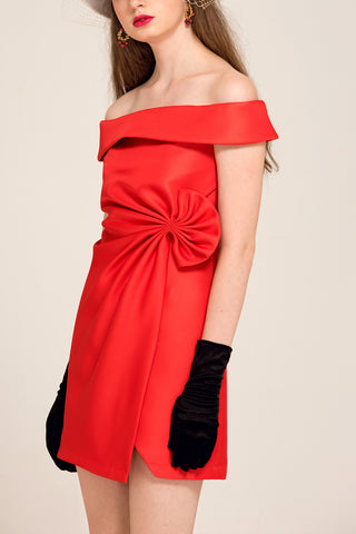 Off-Shoulder Front Slit Side Bowknot Short Dress