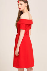 Short Sleeve Off-shoulder Front Slit A-line Dress