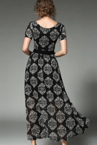Short Sleeve Printed Lace Long Dress