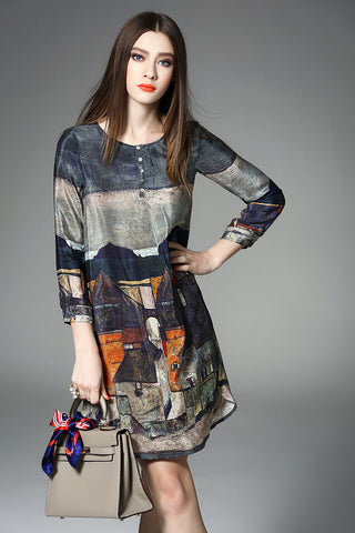 3/4 SLEEVE PRINTED LOOSE SILK DRESS