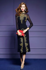 LONG MESH SLEEVE EMBROIDERY FIT AND SHIFT DRESS