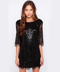 1/2 SLEEVE SEQUIN MESH WAVE HEM LOOSE DRESS