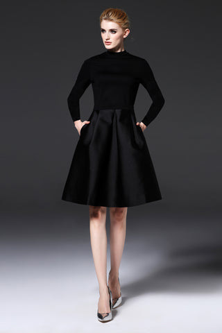 LONG SLEEVE CONTRAST A-LINE DRESS
