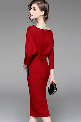 BATWING SLEEVE ZIPPER EMBELLISHED CONTRACT WAIST SHEATH DRESS
