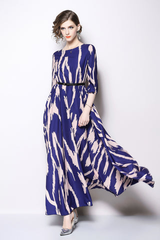1/2 SLEEVE FIT AND FLARE LONG DRESS WITH BELT
