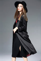 LONG SLEEVE TURN OVER COLLAR TRENCH COAT W/BELT